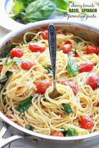 fresh basil recipes CHERRY TOMATO, BASIL, SPINACH AND PARMESAN PASTA