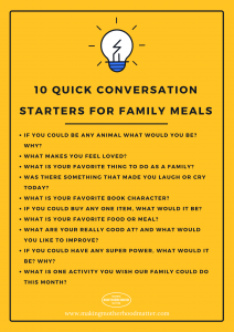 10 quick conversation starters for family meals