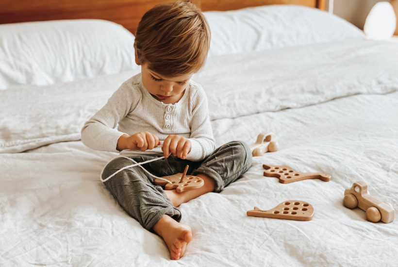 toddler wooden lacing toy